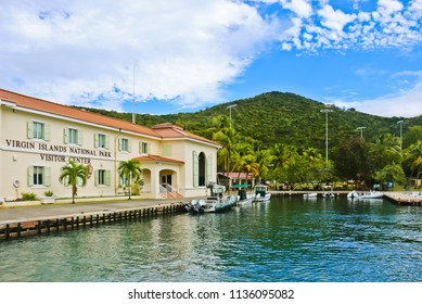 st john, st thomas/united states - 2/13/2017: top view of harbor of st john island of st thomas us virgin islands