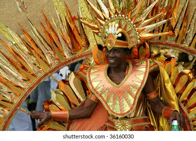 ST. JOHN, U.S. VIRGIN ISLANDS, JULY 9: A man in a colorful carnival costume in the St. John Carnival parade held July 9, 2009 in St. John, U.S. Virgin Island.