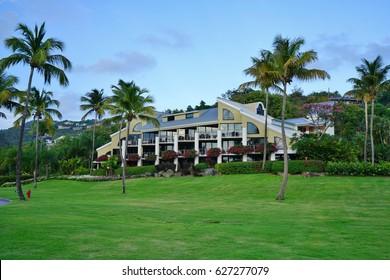 ST JOHN, US VIRGIN ISLANDS -15 APR 2017- View of the Westin St John Resort and Villas, a luxury resort hotel located on Great Cruz Bay in the United States Virgin Islands.