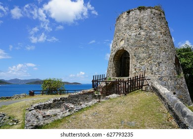ST JOHN, US VIRGIN ISLANDS -15 APR 2017- View of the historic landmark Annaberg Sugar Plantation ruins in the Virgin Islands National Park on the north shore of St John, USVI.