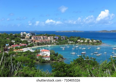 St. John, US Virgin Islands – July 17, 2017: An overlook offers a birds-eye view of Cruz Bay, the largest town on the Caribbean island of St. John.