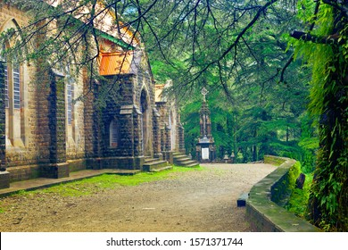 St. John in the Wilderness Church and grave memorial of James Bruce, British colonial diplomat, Governor-General & Viceroy of India (1862–1863). Dharamshala, Kangra district, Himachal, India