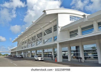 ST JOHN'S, ANTIGUA AND BARBUDA -21 JAN 2018- View of the V. C. Bird International Airport (ANU) located on the island of Antigua in the Caribbean.