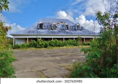 ST JOHN'S, ANTIGUA AND BARBUDA -21 JAN 2018- View of the ruin of the Casino Riviera on Runaway Bay in Fort Bay on the Caribbean Sea in Antigua.