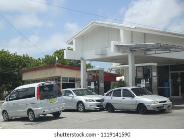 """ST. JOHN'S, ANTIGUA AND BARBUDA - JUNE 14, 2018: Gas station with sign """"No Gas"""" at St. John's in Antigua. St. John's is the capital and key port of the Caribbean island nation of Antigua and Barbuda."""