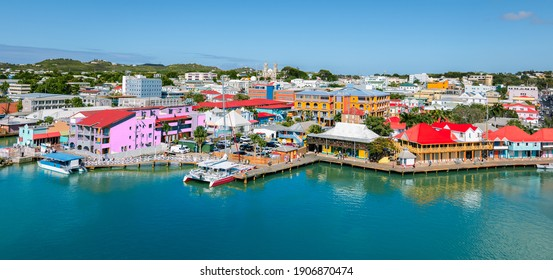 St John's, Antigua and Barbuda. Panoramic view of capital city, skyline and cruise port.