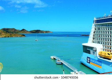 ST JOHNS, ANTIGUA - MARCH 2ND 2018: The Royal Caribbean 'Anthem Of The Seas' cruise ship docked in St Johns Port, Antigua.