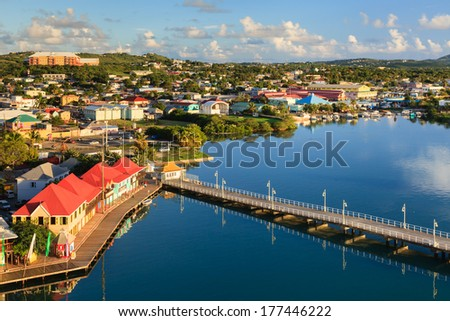 ST JOHNS, ANTIGUA - NOVEMBER 6:  St Johns waterfront pictured on November 6, 2013.  St Johns is the capital of the island of Antigua, one of the Leeward Islands in the West Indies.