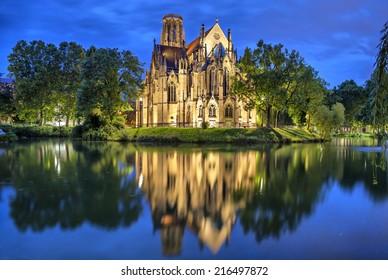 St John's Church at the evening in Stuttgart, Germany