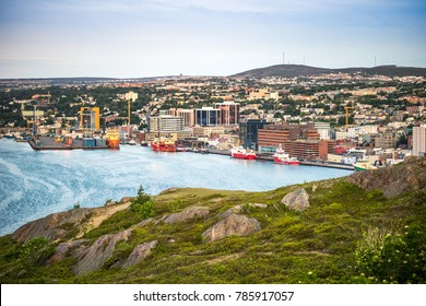 St. John's cityscape with a port, capital city of Newfoundland and Labrador, Canada