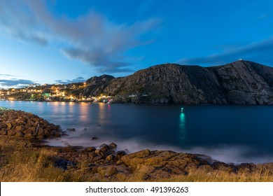 St Johns harbor and siginal hill in twilight