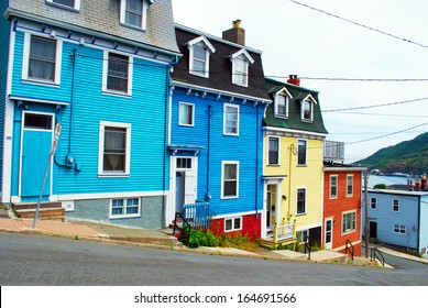 ST. JOHN'S - JULY 25: Distinctive post colonial houses on residential street of St. John's on July 25, 2010 in St. John's, Newfoundland, Canada.