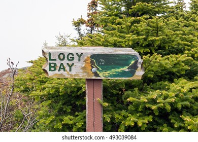 St. Johns, Newfoundland, Canada 4 June 2016. Sign for the East Coast Trail in Newfoundland, Canada. Showing Logy Bay point.