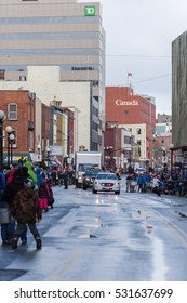 St John's Newfoundland/ Canada-December 4: Santa parade in downtown St John's Newfoundland on December 4, 2016. Downtown St Johns Newfoundland parade