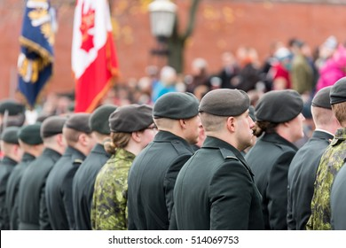 St John's, Newfoundland/ Canada-November 11: Remembrance day parade, St John's Water Street on November 11, 2016. Military and Veterans marching in the parade.