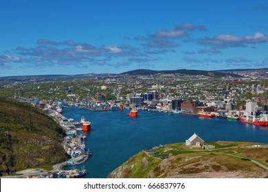 ST. JOHN'S, NEWFOUNDLAND AND LABRADOR - JUNE 14, 2017: The harbour of St. John's, Newfoundland, on a sunny day.