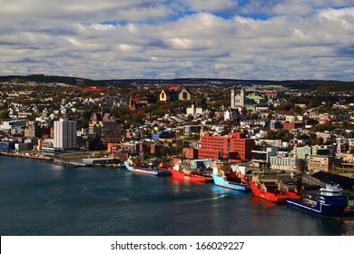 """St. John's Newfoundland. Visible are """"Basilica of St. John's the Baptist"""", """"The Rooms"""", """"St. Andrew's Church"""", """"St. John?s the Baptist Anglican Cathedral"""", Buildings and part of Harbor."""