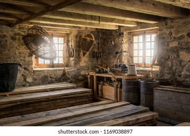 ST. JOHN'S, NEWFOUNDLAND/CANADA - JULY 23, 2018: Interior of storage room at the Fortress of Louisbourg National Historic Site of Canada