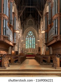 ST. JOHN'S, NEWFOUNDLAND/CANADA - JULY 24, 2018: Interior of the Anglican Cathedral of St. John the Baptist church on Church Hill in St. John's, Newfoundland and Labrador