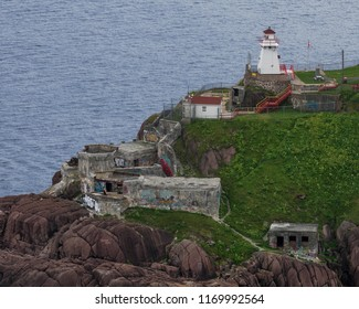 ST. JOHN'S, NEWFOUNDLAND/CANADA - JULY 24, 2018: Fort Amherst and historic lighthouse from Signal Hill in St. John's, Newfoundland and Labrador