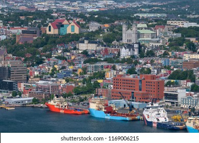 ST. JOHN'S, NEWFOUNDLAND/CANADA - JULY 25, 2018: Historic and colorful downtown St. John's and St. John's Harbour from Signal Hill