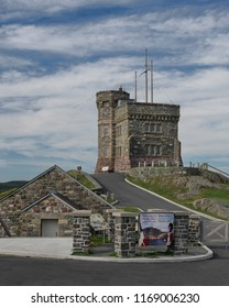 ST. JOHN'S, NEWFOUNDLAND/CANADA - JULY 25, 2018: Exterior of the historic Cabot Tower at Signal Hill in St. John's, Newfoundland and Labrador
