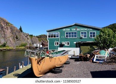 St. John's, NL, Canada - August 11, 2018:  Craft brewer Quidi Vidi Brewing Company is the third largest brewer in the province of Newfoundland and Labrador.  Named after the quaint neighbourhood.