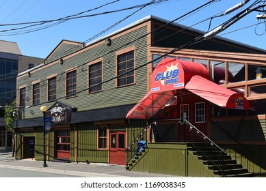 St. John's, NL, Canada - August 11, 2018:  Popular saloon Sundance and Club One on the famous George Street which is known for it nightlife with many bars and pubs.