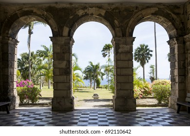 St John's Parish, Barbados - March 30, 2017: Codrington College. View from the classical portico of Codrington College looking east to the Atlantic Ocean. It is a historical religious school.