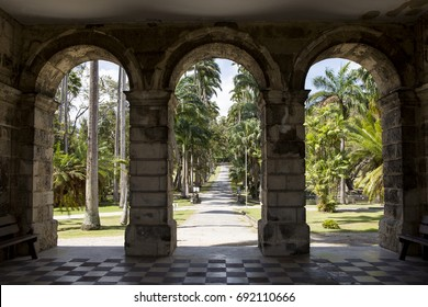 St John's Parish, Barbados - March 30, 2017: Codrington College. View from the classical portico of Codrington College looking west down the entrance. It is a historical religious school.