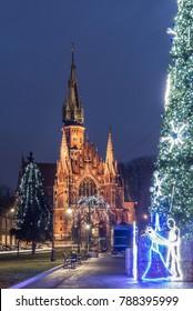 St Joseph church and christmas tree in Krakow, Poland, Podgorze