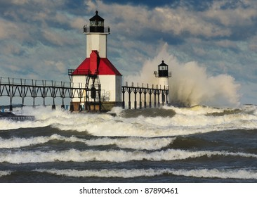 St. Joseph Lighthouse Storm, St. Joseph Michigan, USA
