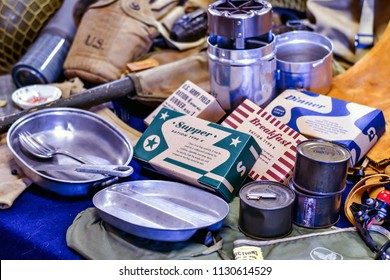 St Joseph MI USA , June 22 2018; display of vintage MRE rations, (meals ready to eat) mess kit, tools, and items for a American soldier during WW2, on display at the Lest we forget event