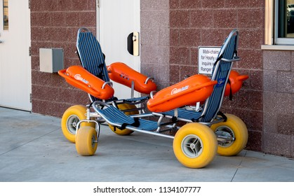 St Joseph MI USA;  May 27 2018; a mobi chair for rent... a floating wheel chair for handicapped individuals so they can  easily enjoy the beach