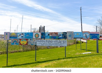 St. Joseph, Michigan, USA - May 4, 2019: Artwork Display at the city limits of Benton and St Joseph, promoting good relationship between sister cities
