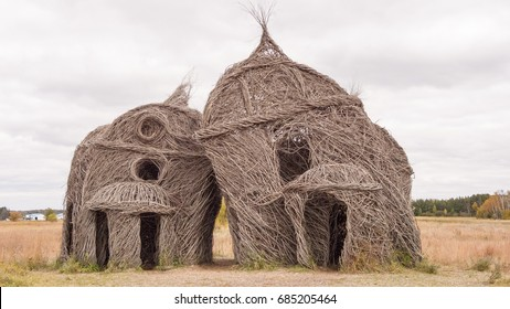 St. Joseph, Minnesota, USA - October 9, 2015: Willow and Ironwood Sculpture entitled Lean On Me by Patrick Dougherty