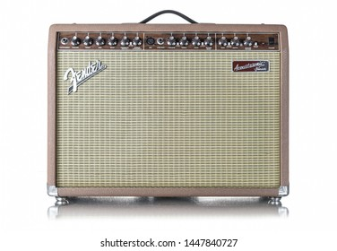 St. Joseph, Missouri / United States of America - February 1st 2019: Fender Acoustasonic Junior guitar amp.  A vintage amp with two drivers.