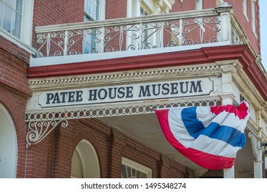St. Joseph, Missouri / United States of America - August 29th, 2019 : Patee House Museum sign, over main entrance.  Pony Express Headquarters, 1860.