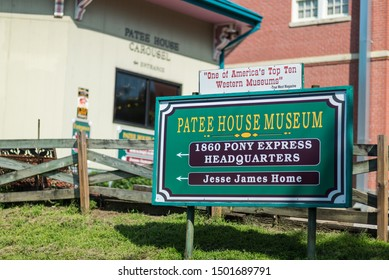 St. Joseph, Missouri / United States of America - August 29th, 2019 : Sign for the Patee House Museum, Pony Express Headquarters, Jesse James Home.