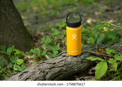 St. Joseph, MO / United States of America - June 17th, 2020 : Yellow Hydro Flask metal water bottle in a forest environment.  Small stainless steel insulated beverage container in the woods.