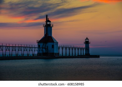 St. Joseph Pier Lighthouse in Michigan at Sunset