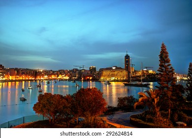 St. Julian's bay at the blue hour, Malta