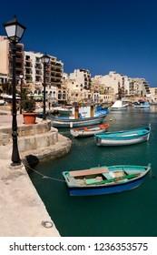 St Julian's. Malta. 05.09.07. The picturesque harbor at St Julian's in St Julian's Bay on the Mediterranean island of Malta.