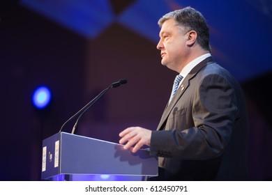 ST. JULIAN'S - MALTA, 29 March 2017: President of Ukraine Petro Poroshenko during the congress of the European People's Party (EPP) in Malta