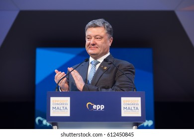 ST. JULIAN'S - MALTA, 29 March 2017: President of Ukraine Petro Poroshenko during the congress of the European People's Party (EPP) in Malta
