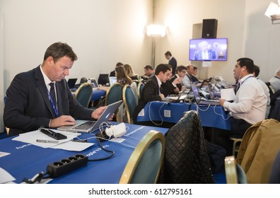 ST. JULIAN'S - MALTA, 29 March 2017: Congress of the European People's Party (EPP) in Malta. Working moments of the EPP Congress. Press center of the congress.