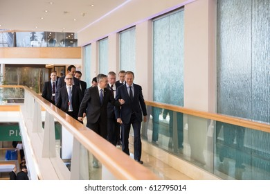 ST. JULIAN'S - MALTA, 30 March 2017: President of the European Council Donald Tusk during Congress of the European People's Party (EPP) in Malta. Working moments of the EPP Congress.