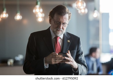 ST. JULIAN'S - MALTA, 30 March 2017: Working moments of the EPP Congress. Prime Minister of Spain Mariano Rajoy during the congress of the European People's Party (EPP) in Malta.