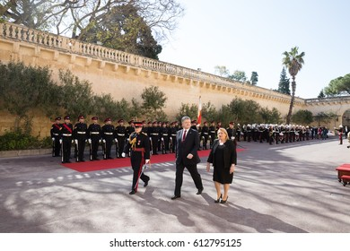 ST. JULIAN'S - MALTA, 30 March 2017: President of Ukraine Petro Poroshenko during an official meeting with the President of the Republic of Malta, Marie Louise Coleiro Preca