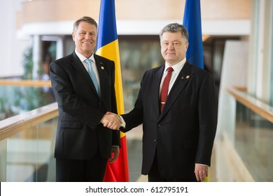 ST. JULIAN'S - MALTA, 30 March 2017: President of Ukraine Petro Poroshenko and President of Romania Klaus Johannis during the meeting during the congress of the European People's Party (EPP) in Malta